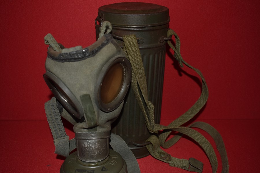 WW2 GERMAN ARMY GAS MASK AND CANNISTER-SOLD
