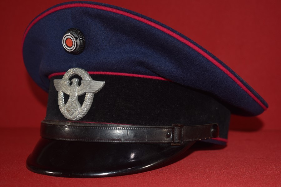 WW2 GERMAN FIRE PROTECTION POLICE VISOR HAT-SOLD