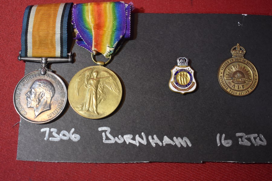 WW1 AUSTRALIAN PAIR OF MEDALS TO 16 BN WOUNDED IN ACTION (WIA)-SOLD