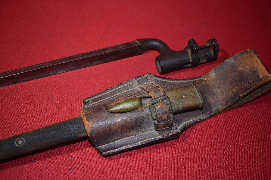 AUSTRALIAN VICTORIAN RIFLES SPIKE BAYONET, SCABBARD AND FROG.