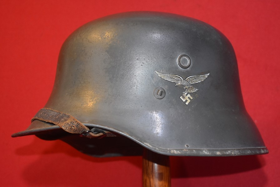 WW2 GERMAN M35 LUFTWAFFE DOUBLE DECAL VULKANFIBRE OFFICERS PARADE HELMET