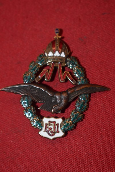 WW1 AUSTRIAN ENAMELLED PILOTS BADGE FJ TYPE 1