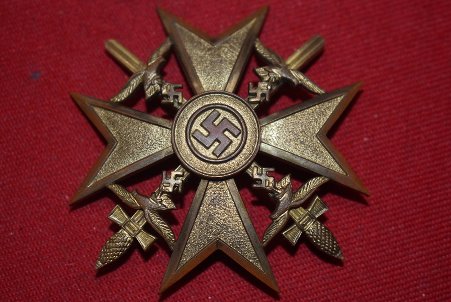 WW2 GERMAN LUFTWAFFE SPANISH CROSS WITH SWORDS IN BRONZE L/15-SOLD