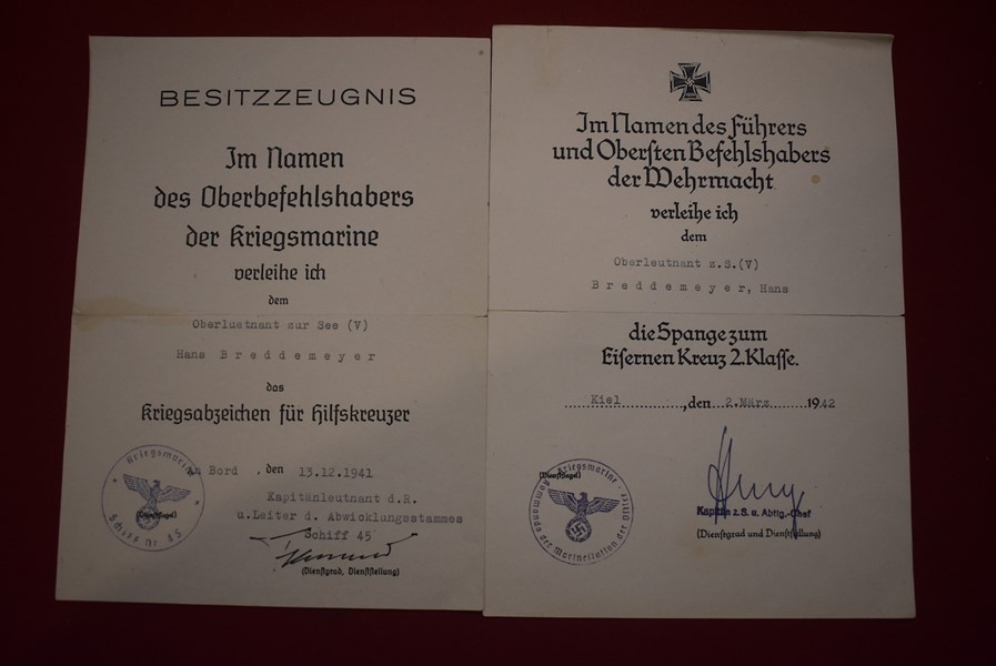 WW2 GERMAN KRIEGSMARINE AWARD DOCUMENTS FOR THE RAIDER SHIP KOMET