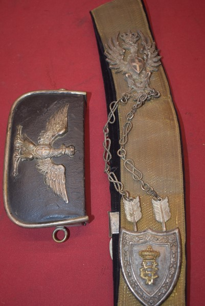 WW2 ITALIAN OFFICERS PARADE CROSS BELT AND CARTRIDGE POUCH