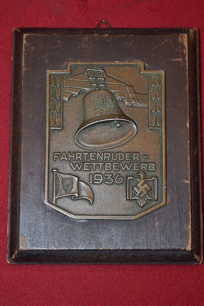 GERMAN SPORT ASSOCIATION AWARD PLAQUE FOR THE BERLIN 1936 OLYMPICS