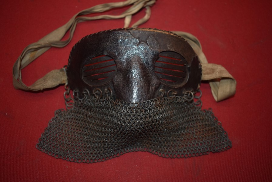WW1 BRITISH TANK CORPS PROTECTIVE FACE MASK-SOLD
