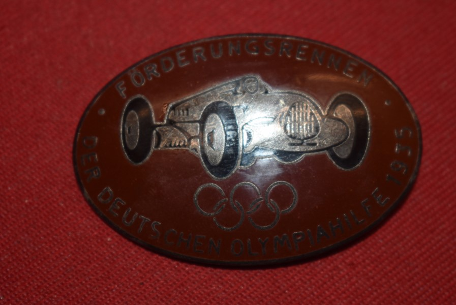 GERMAN 1936 OLYMPICS RACE CAR QUALIFICATION BADGE-SOLD