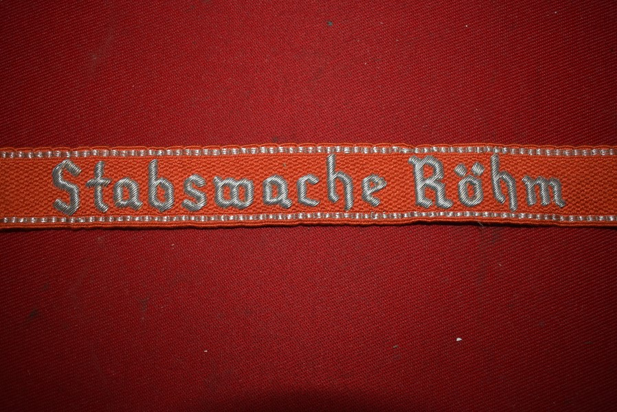 WW2 GERMAN SA CUFF TITLE STABWACHE ROHM-SOLD