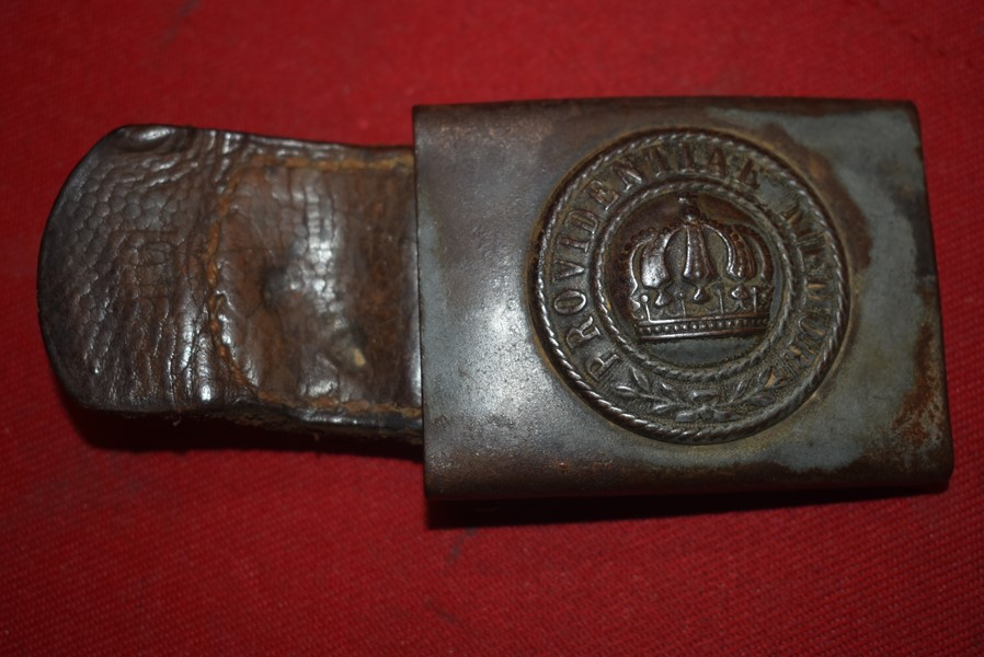 WW1 IMPERIAL GERMAN ARMY SAXONY STATE BELT BUCKLE AND LEATHER TAB-SOLD